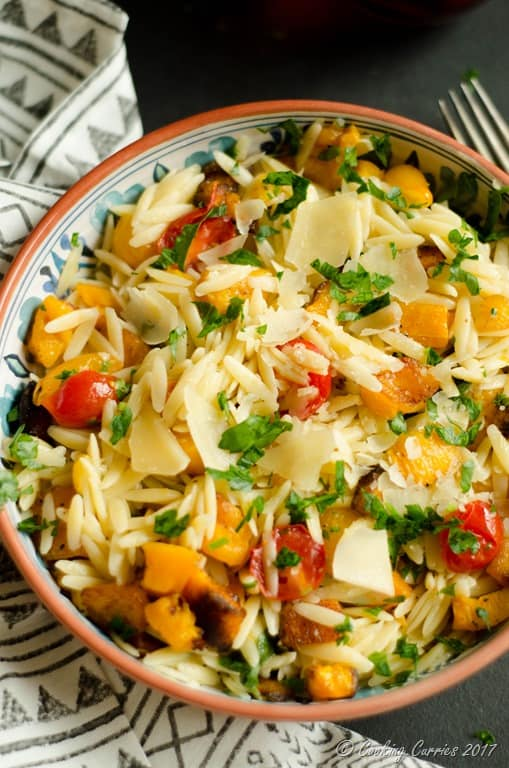 Butternut Squash and Cherry Tomatoes Orzo - Cooking Curries