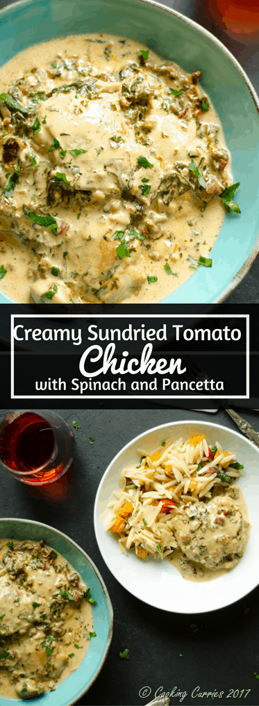 Creamy Sundried Tomato Chicken with Spinach and Pancetta