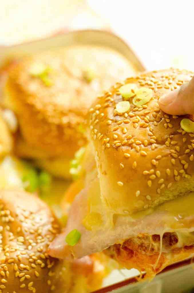 Baked Garlicky Ham and Cheese Sliders with Marinara Sauce