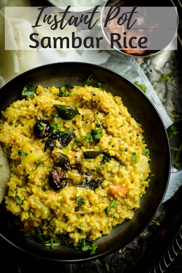 A one pot, Instant Pot recipe for Sambar Rice or Sambar Sadam, a Southern Indian rice dish that is a complex yet oh so flavorful medley of rice, lentils, vegetables, tamarind and spices. #IndianFood #InstantPot #Vegetarian