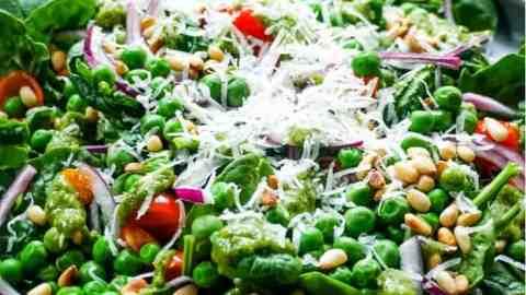 Spinach Pea Salad with Fresh Basil Walnut Pesto