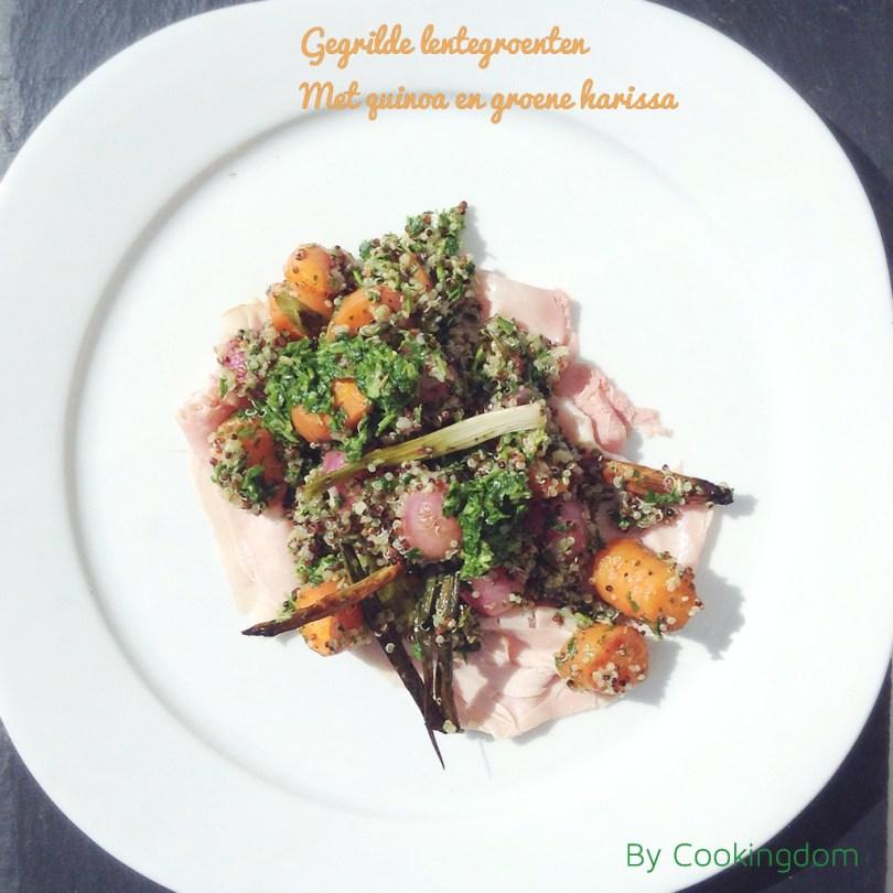 Gegrilde lentegroenten met quinoa en groene harissa, By Cookingdom