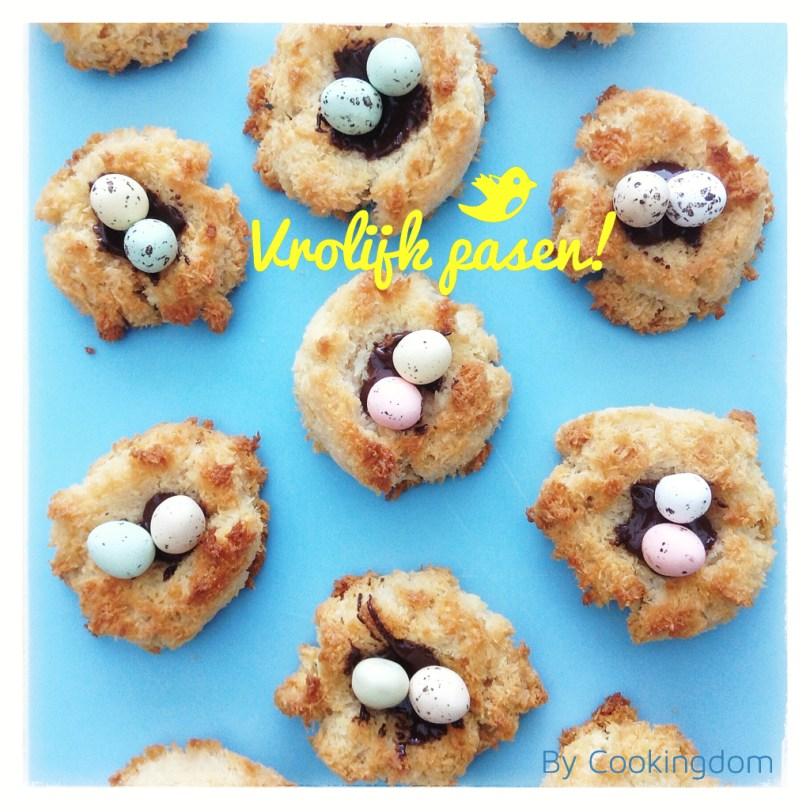 Kokosmakroon nestjes! Vrolijk Pasen, by Cookingdom