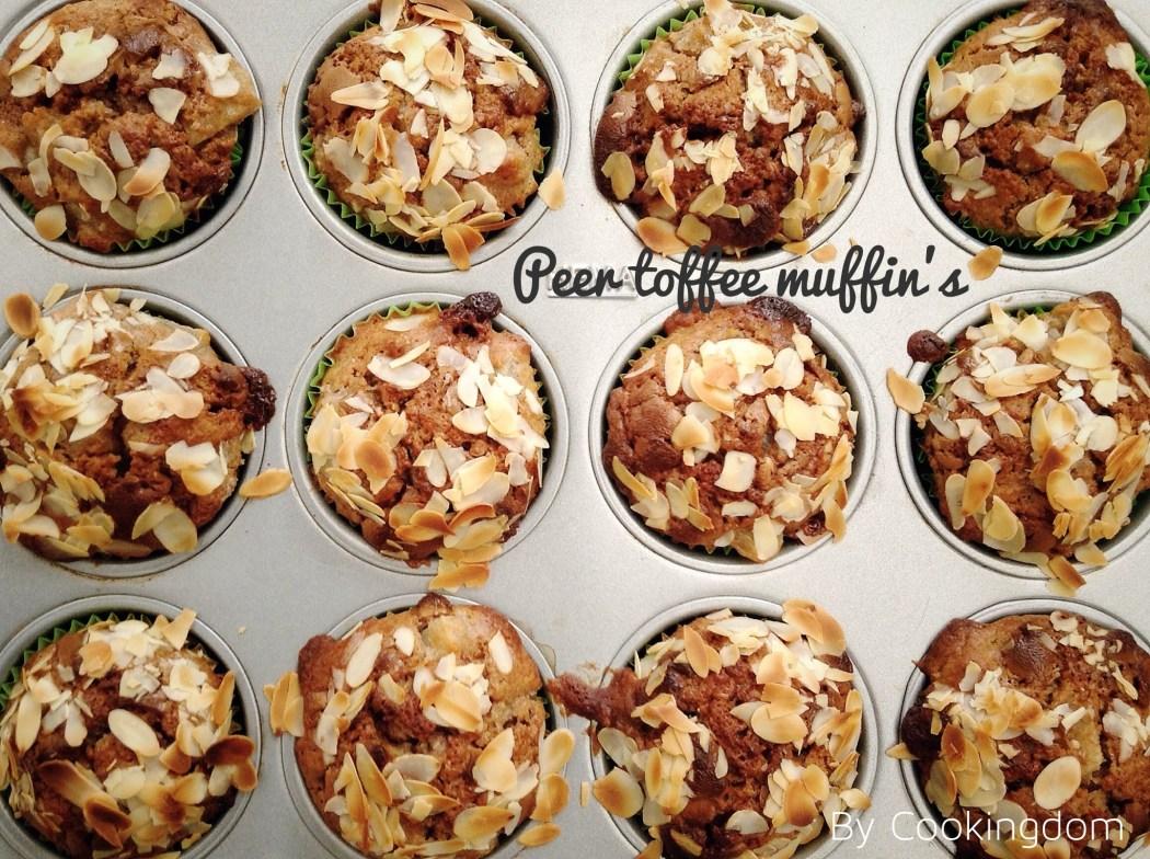 Peer en toffee muffin met amandelen