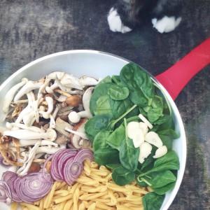 Paddenstoel en spinazie pasta1 By Cookingdom