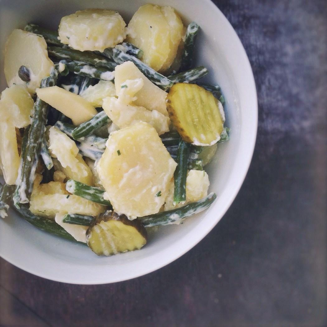 Aardappelsalade met sperziebonen en augurken, By Cookingdom