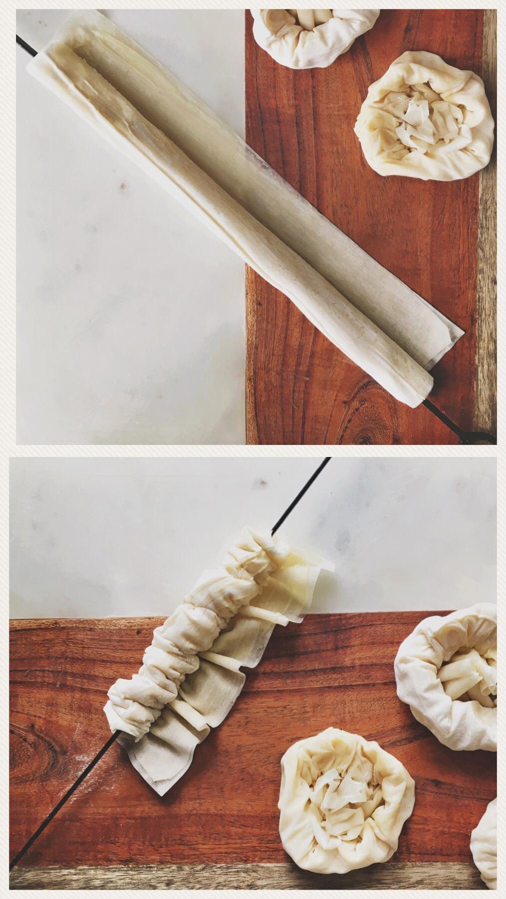 filodeeg bakjes gevuld met ERU Chèvre doux