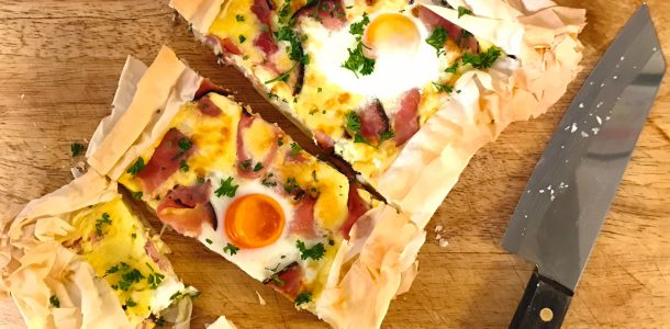 Triple Smoked Ham & Egg Filo Tart