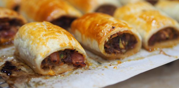 Beef, Bacon and Vegetable Sausage Rolls