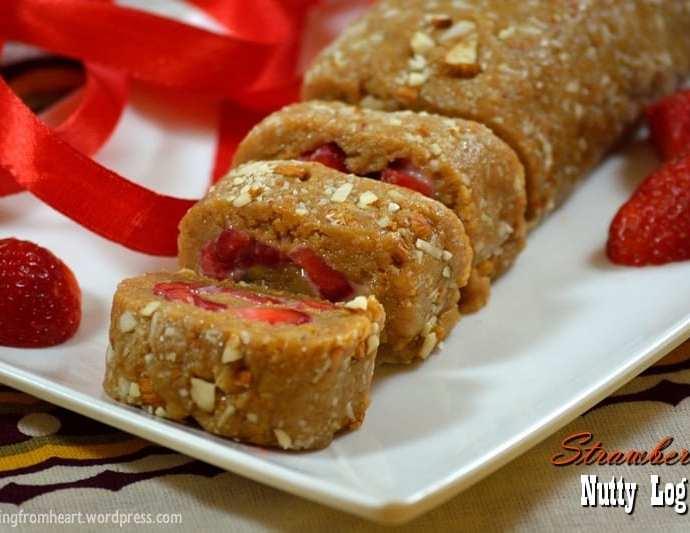 Strawberry Nutty Log | Nutty Log Cake | No Bake Dessert Recipes