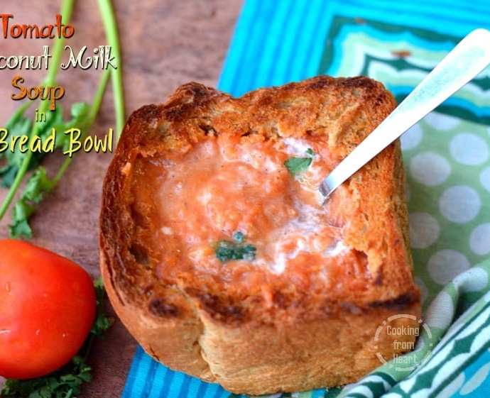 Tomato Coconut Milk Soup in Bread Bowl | Vegan Creamy Tomato Soup