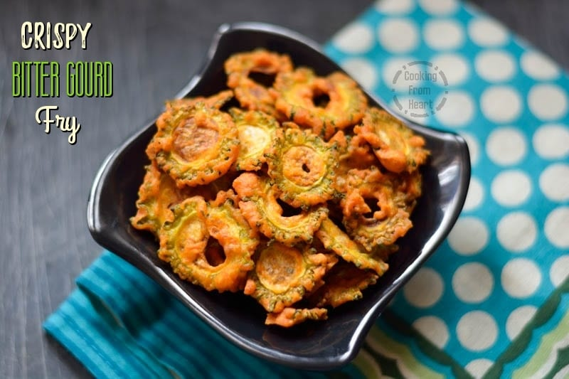 Crispy Bitter Gourd Fries   Pavakai Varuval   Kakarakaya Vepudu