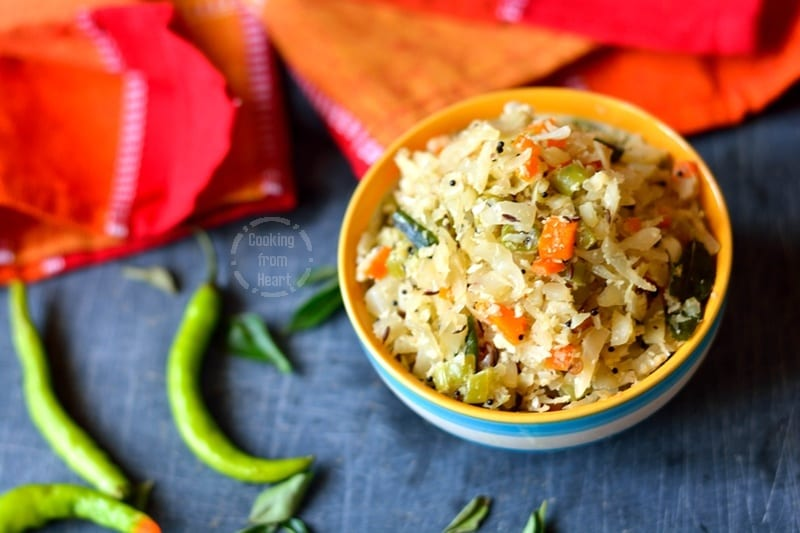 Cabbage Carrot Beans Poriyal (1)