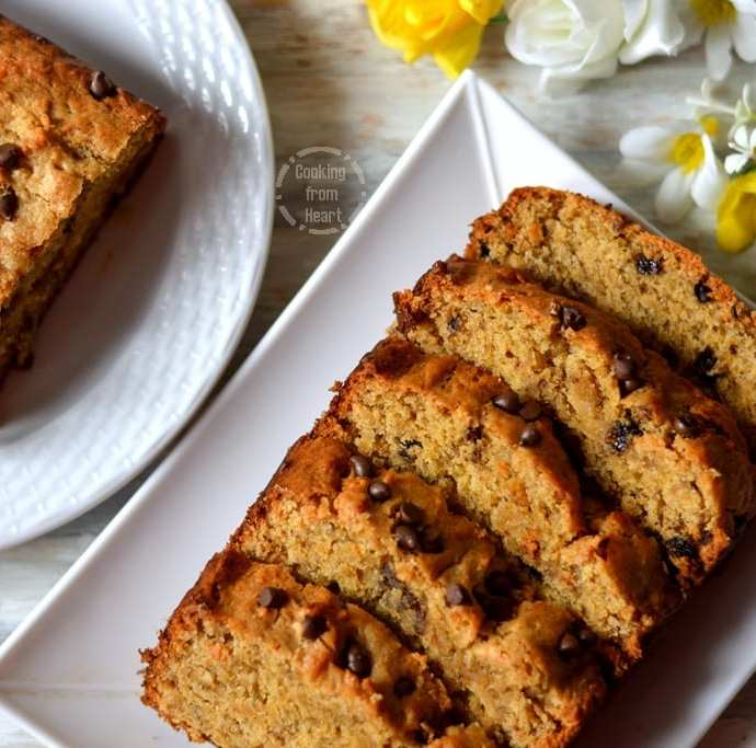 Eggless Whole Wheat Banana Chocolate Chip Cake