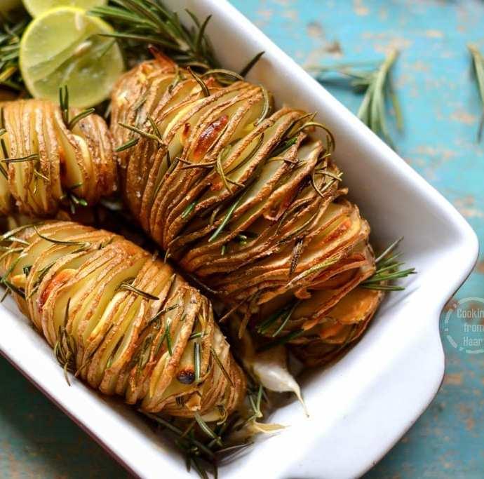 Hasselback Potatoes with Rosemary, Garlic and Lemon
