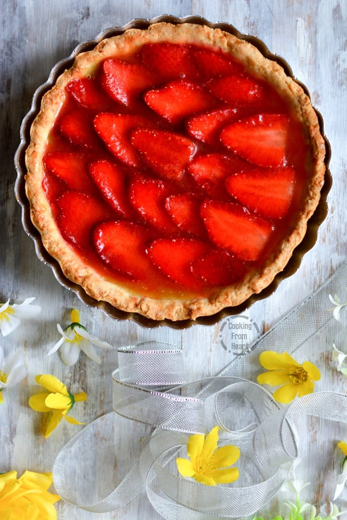 Eggless Strawberry Lemon Curd Tart