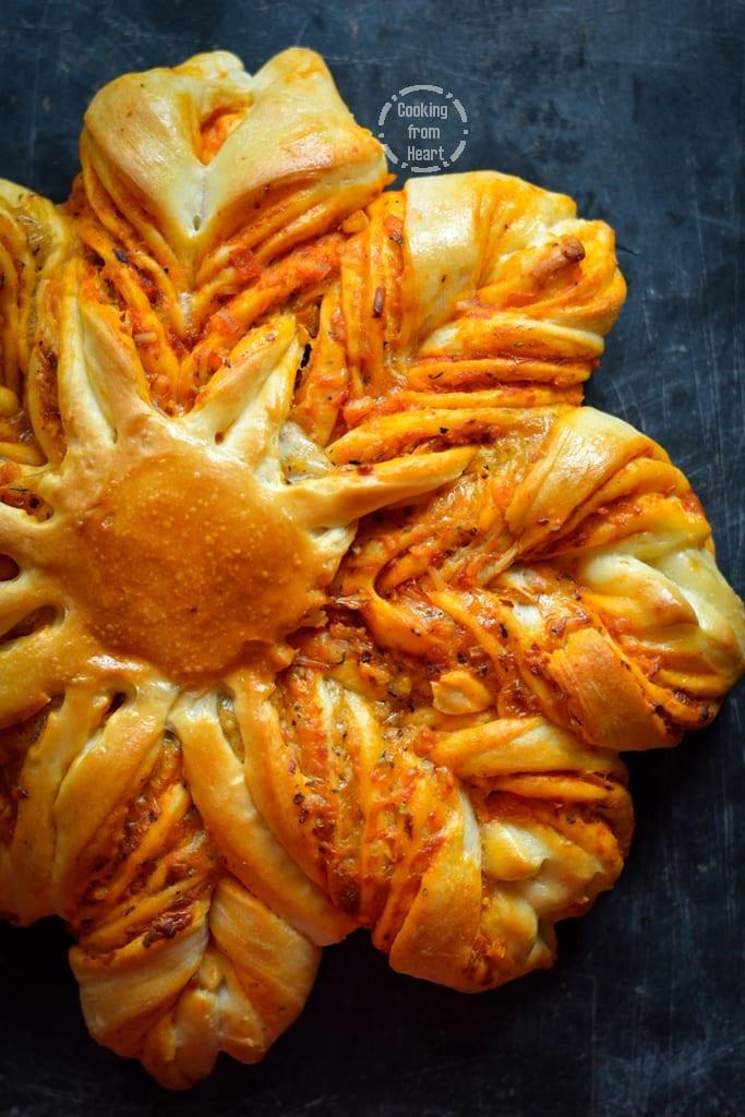 Cheesy Brioche Flower Bread