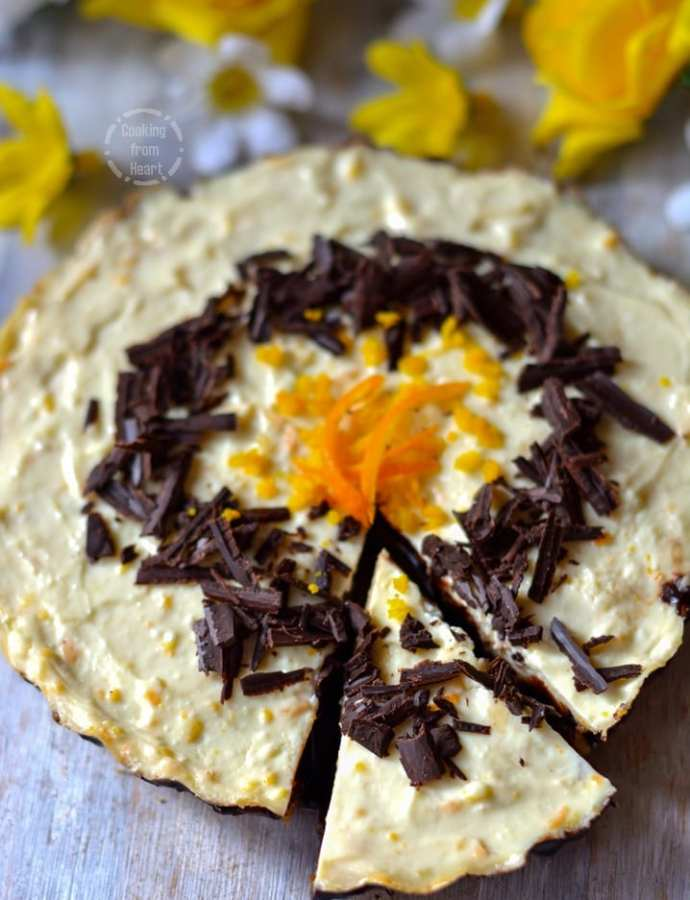 Eggless Chocolate Orange Cheesecake