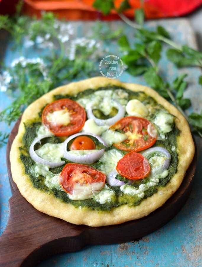 Mint Pesto Whole Wheat Pizza | Whole Wheat Pizza Base Recipe