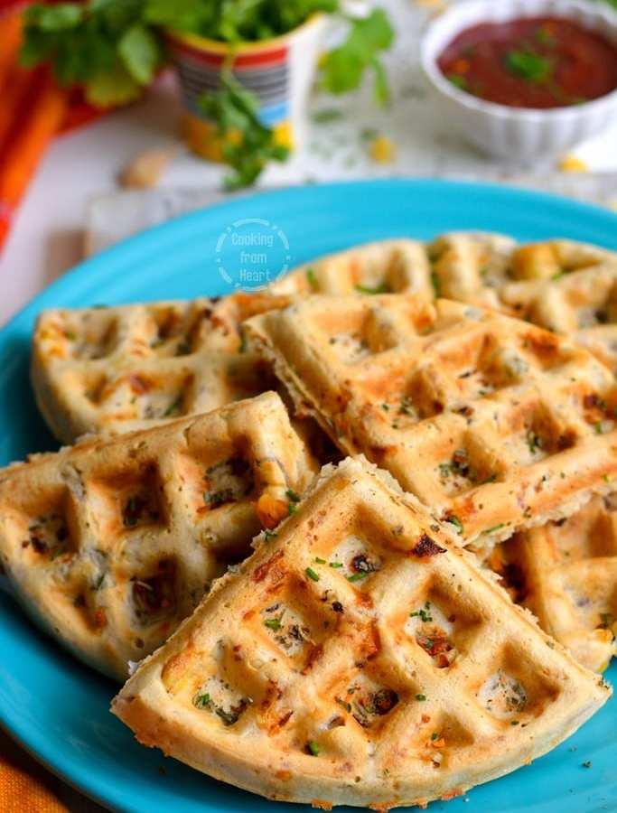 Eggless Savory Corn Cheese Waffles