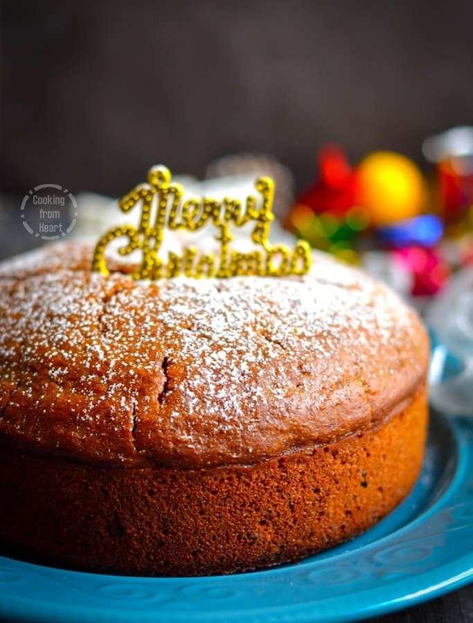 Eggless Christmas Fruit Cake | Eggless Caramel Fruit Cake