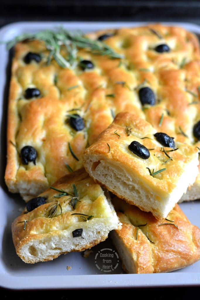 Focaccia with Olives and Rosemary