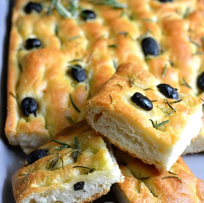Focaccia with Olives and Rosemary | Olive Rosemary Focaccia