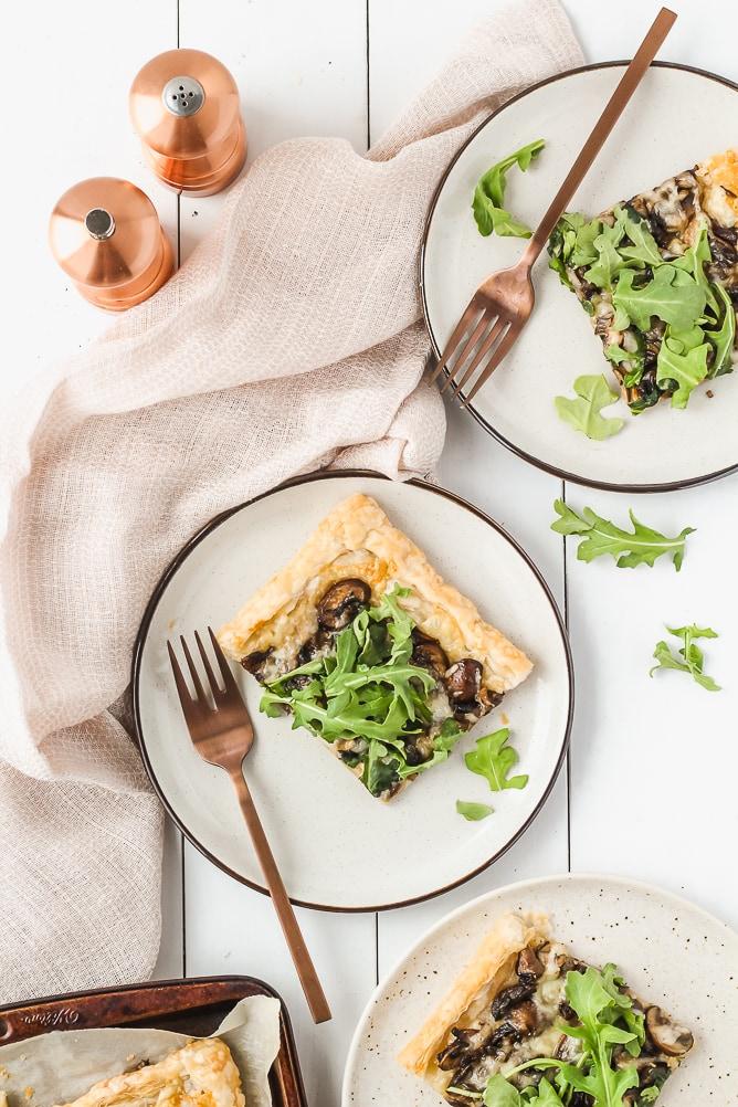 Mushroom Tart with Gruyere Cheese and Arugula