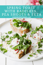 Spring Toast with Radishes, Pea Shoot & Feta