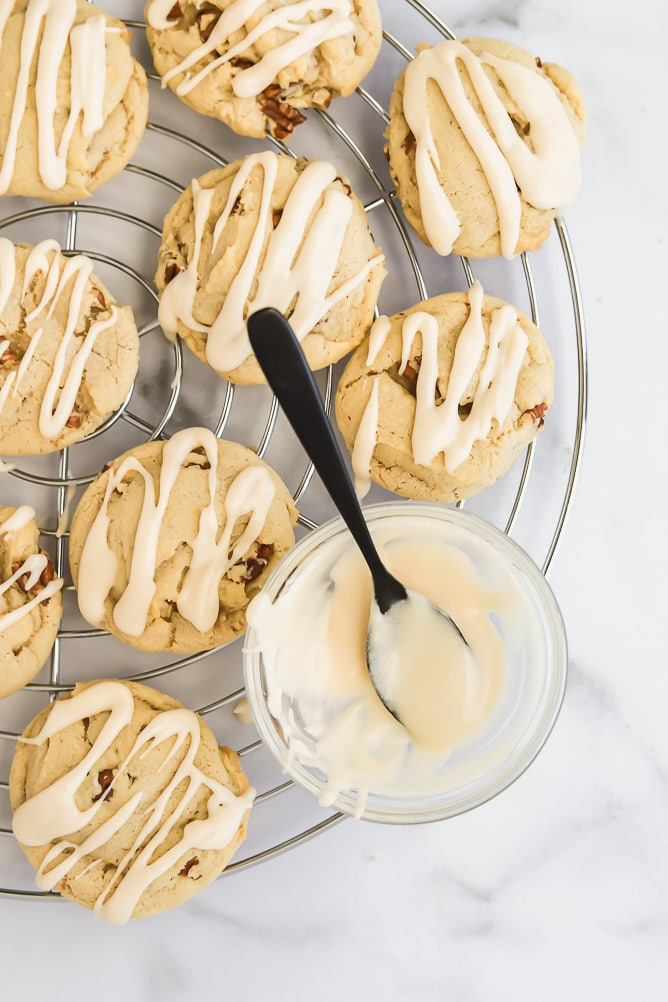 Soft Pecan Cookies with Maple Glaze