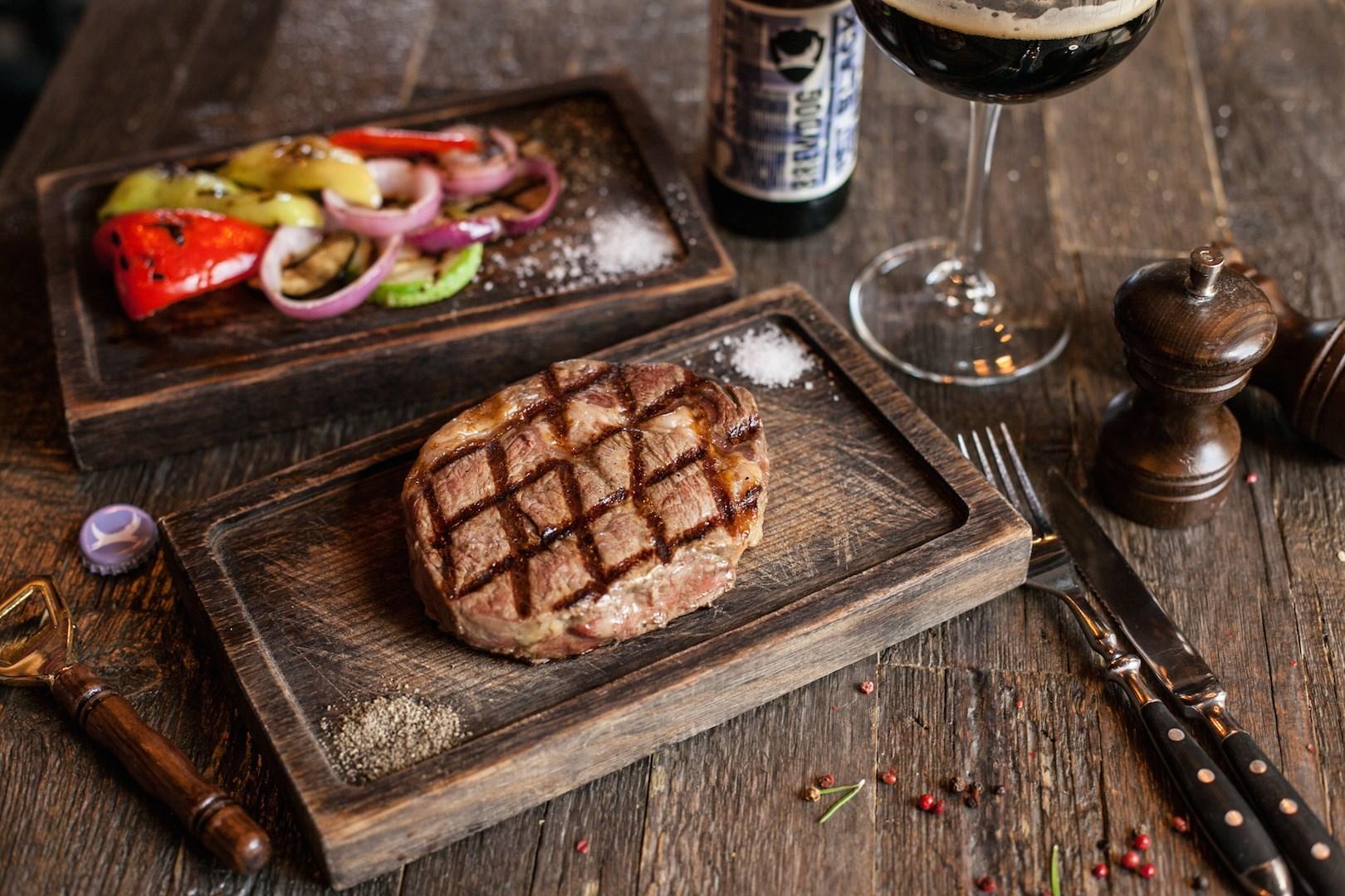 Rib-eye steak medium roast