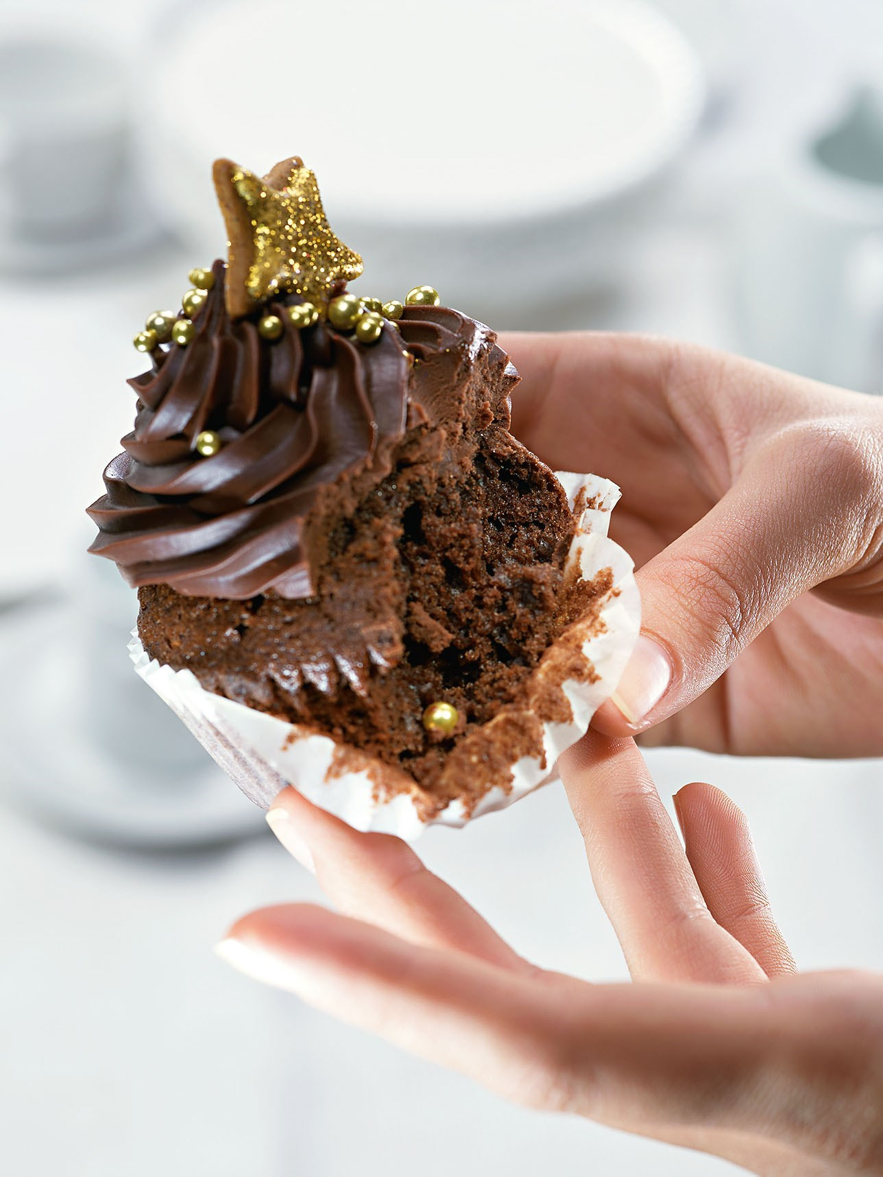 Chocolate cupcake with ganache cream