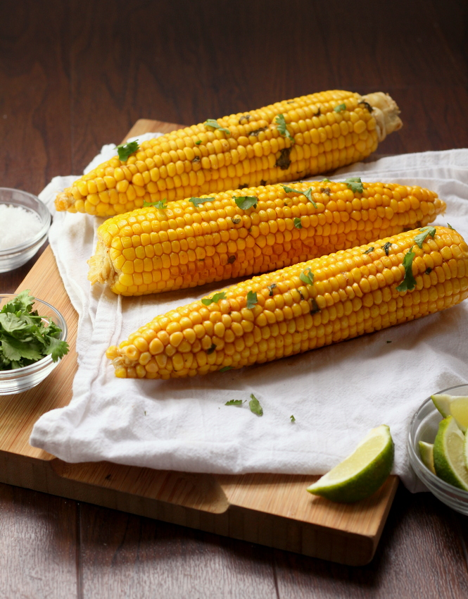 Spicy Cilantro Lime Corn on the Cob - Cooking is Messy