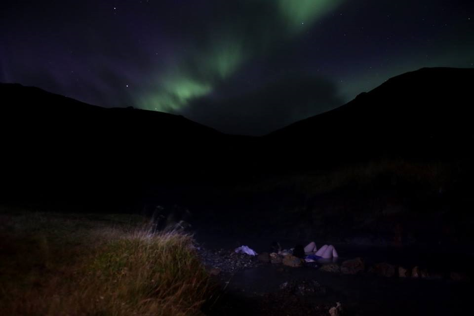Bathing Under the Northern Lights