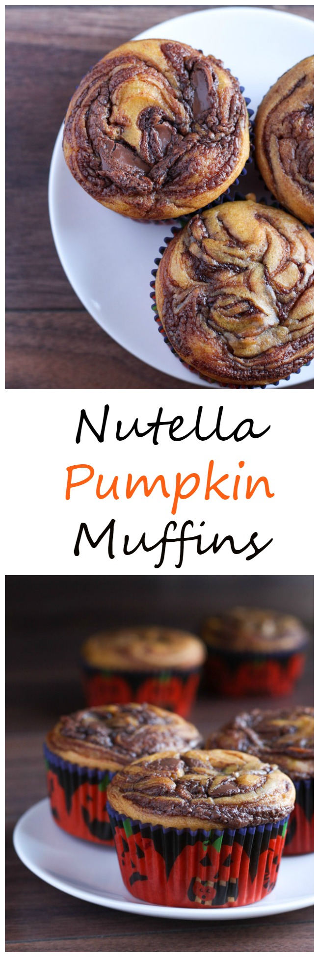 A yummy and simple recipe for pumpkin muffins with a gorgeous nutella swirl on top. Sure to be a holiday or breakfast favorite! www.cookingismessy.com