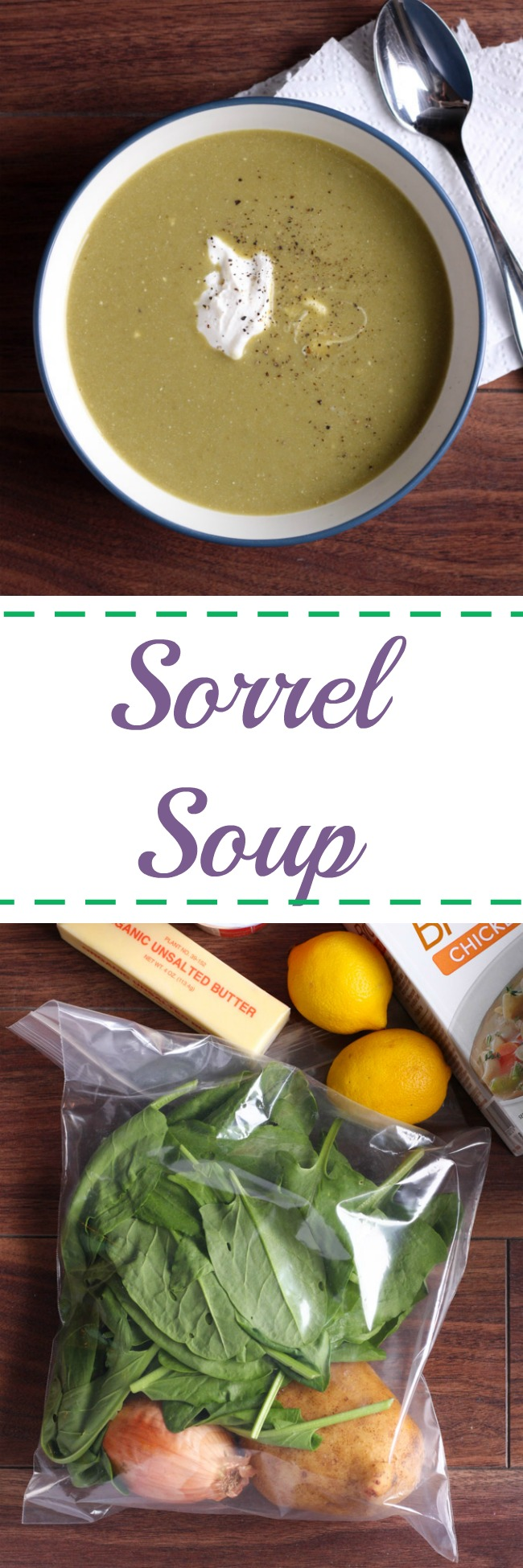 Sorrel soup is tart, lemony, and delicious. This soup is tasty served hot or cold, it's light, and simple to make! www.cookingismessy.com