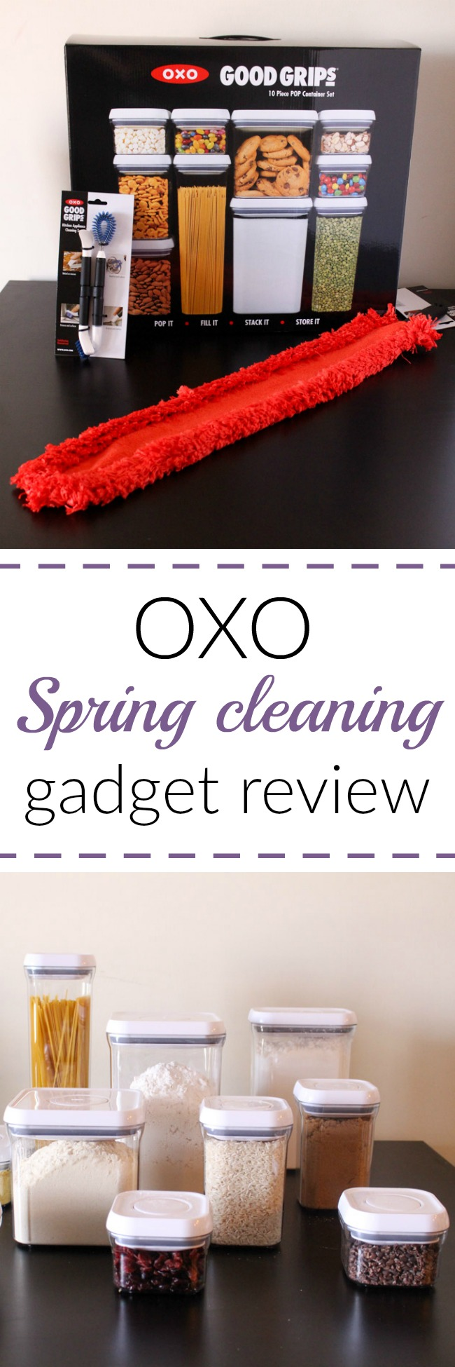 A review of OXO spring cleaning products - there are food storage containers to help organize your pantry and lots of brushes and scrapes to clean every nook and cranny of your kitchen! www.cookingismessy.com