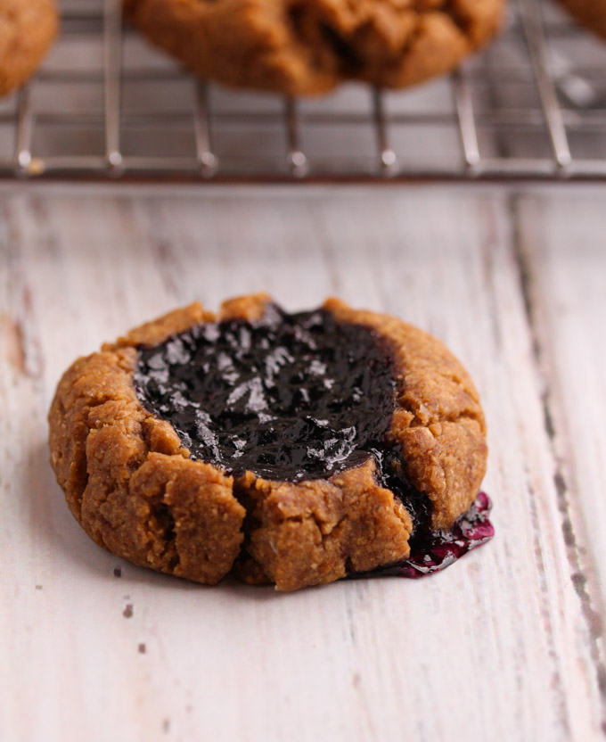 peanut butter blueberry thumbprint cookie