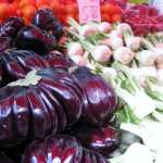 eggplant, garlic and cherry tomatoes at the market