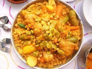 couscous with fava beans, or optionally chickpeas