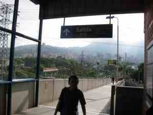 Subway station with Medellin skyline