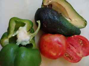 very ripe tomato, pepper, avocado