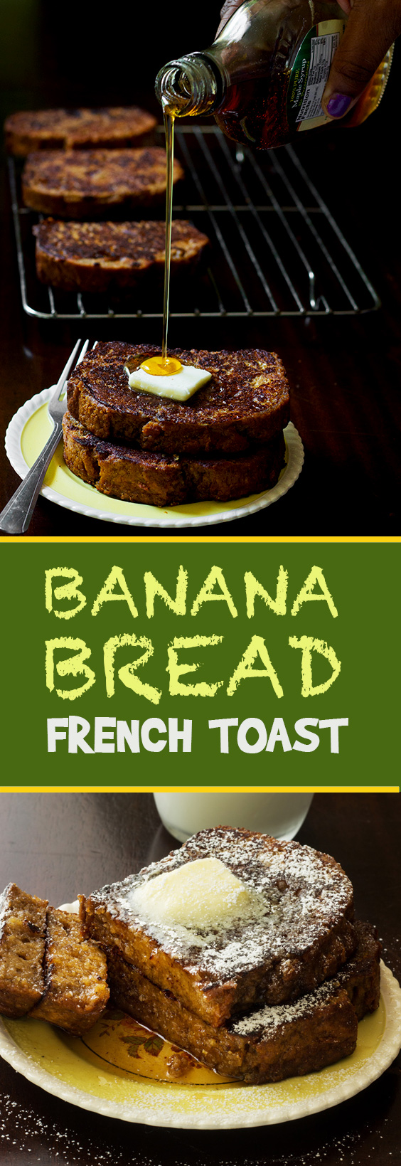 Two breakfast favorites join forces to become one epic bite of yum. Banana bread french toast has all the banana flavor with the crunch of fresh toast.