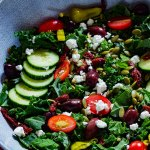 This Minty Kale Greek Salad with Creamy Vinaigrette is the perfect way to pack in all the healthy stuff without losing out on big flavors. Bright, colorful and flavorful in every bite.