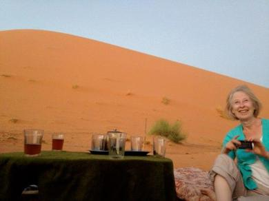 Tea after the ride - the dunes await