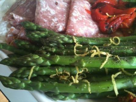 Blanched asparagus in the antipasto platter