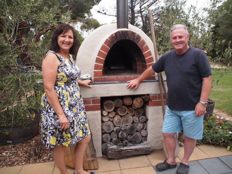 John and Cheryl with their pizza oven