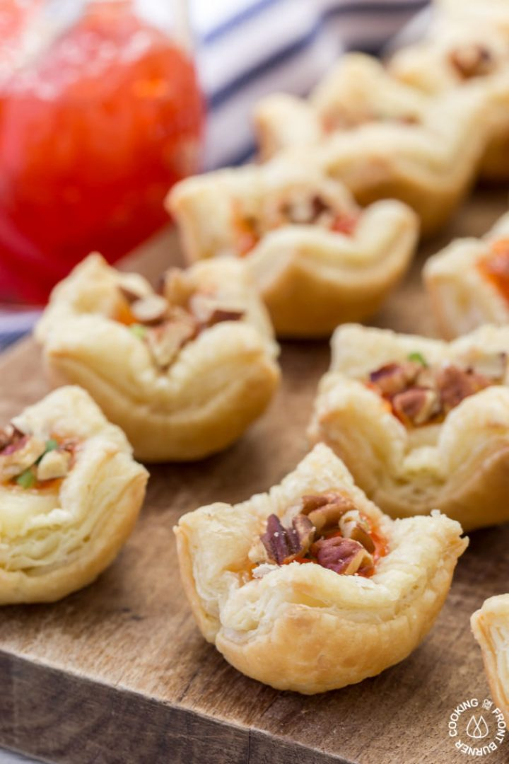 These Brie Pepper Jelly Bites are a great recipe to have on hand for the holidays!