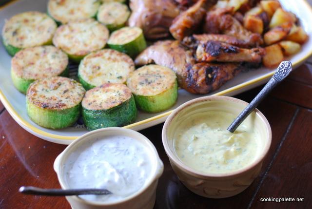 two yogurt sauces fried zucchini  (13)