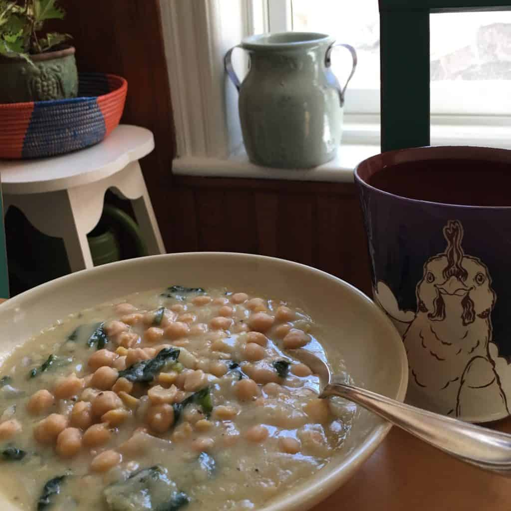 Chickpea Soup with Spinach and Bread Crumbs.